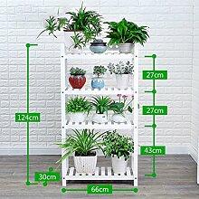 Antiseptic Holz Blumenständer Hölzerne Blumen-Racks / Indoor-und Outdoor-Pflanzen-Racks / Multi-Layer-Blumentöpfe / Floor-Art Flower Display Stand Starke Tragfähigkeit ( Farbe : Weiß , größe : 124*30*66cm )