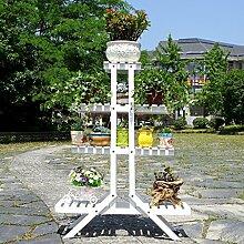 Antiseptic Holz Blumenständer Hölzerne Blumen-Racks / Indoor-und Outdoor-Pflanzen-Racks / Multi-Layer-Blumentöpfe / Floor-Art Flower Display Stand Starke Tragfähigkeit ( Farbe : Weiß , größe : 25*84*110cm )