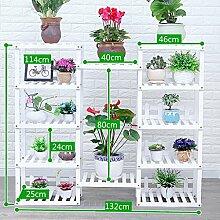 Antiseptic Holz Blumenständer Hölzerne Blumen-Racks / Indoor-und Outdoor-Pflanzen-Racks / Multi-Layer-Blumentöpfe / Floor-Art Flower Display Stand Starke Tragfähigkeit ( Farbe : Weiß , größe : 114*132*25cm )