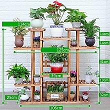 Antiseptic Holz Blumenständer Hölzerne Blumen-Racks / Indoor-und Outdoor-Pflanzen-Racks / Multi-Layer-Blumentöpfe / Floor-Art Flower Display Stand Starke Tragfähigkeit ( Farbe : A )