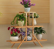 Antiseptic Holz Blumenständer Holz Pflanze Blume Ausstellungsstand Holz Topf Regal Lagerregal Outdoor Indoor 6 Töpfe Halter 84x28x77Cm Starke Tragfähigkeit ( Farbe : B )