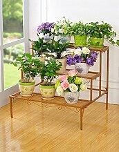 Antiseptic Holz Blumenständer Outdoor Multi - Layer Leiter Blumenbeet Rahmen Praktische Eisen Blume Rahmen Balkon Hochwertige dekorative Rahmen Starke Tragfähigkeit ( farbe : A , größe : 70*60cm )