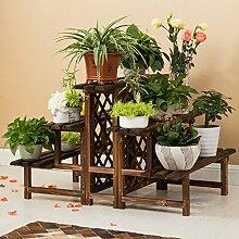 Antiseptic Holz Blumenständer Wooden Flower Rack / Indoor und Outdoor Pflanze Rack / mehrstöckige Boden Leiter / Blumentopf Rack / Pflanze Flower Display Stand Starke Tragfähigkeit ( Farbe : 3 layers double sided )