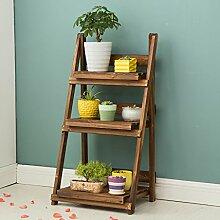 Antiseptic Holz Blumenständer Wooden Flower Rack / Indoor und Outdoor Pflanze Stand / 3 Floor Floor Leiter / Falten Blumentopf Rack / Pflanze Flower Display Stand Starke Tragfähigkeit ( größe : 50*39*96cm )