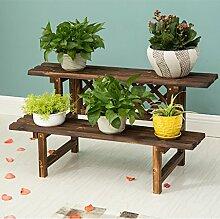 Antiseptic Holz Blumenständer Wooden Flower Rack / Indoor und Outdoor Pflanze Rack / mehrstöckige Boden Leiter / Blumentopf Rack / Pflanze Flower Display Stand Starke Tragfähigkeit ( Farbe : 2 layers 90cm long )
