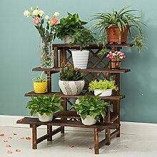 Antiseptic Holz Blumenständer Wooden Flower Rack / Indoor und Outdoor Pflanze Rack / mehrstöckige Boden Leiter / Blumentopf Rack / Pflanze Flower Display Stand Starke Tragfähigkeit ( Farbe : 4 layers 90cm long )