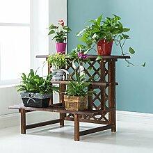 Antiseptic Holz Blumenständer Wooden Flower Rack / Indoor und Outdoor Pflanze Rack / mehrstöckige Boden Leiter / Blumentopf Rack / Pflanze Flower Display Stand Starke Tragfähigkeit ( Farbe : 3 layers 90cm long )