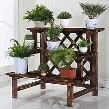 Antiseptic Holz Blumenständer Wooden Flower Rack / Indoor und Outdoor Pflanze Rack / mehrstöckige Boden Leiter / Blumentopf Rack / Pflanze Flower Display Stand Starke Tragfähigkeit ( größe : 98*60*75cm )
