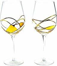 Antoni Barcelona großes Weinglas Luxus–Gold