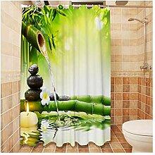 Anwaz Duschvorhang Polyester Bambus Design Vorhang