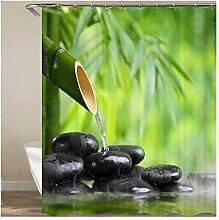 Anwaz Duschvorhang Polyester Bambus Fließen