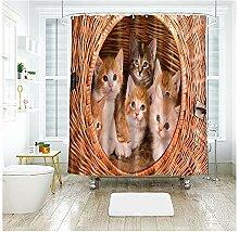 Anwaz Duschvorhang Polyester Kätzchen Bambus Haus