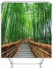 Anwaz Duschvorhang Polyester Pfad Bambus Wald