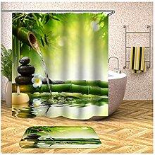 Anwaz Duschvorhang und Badezimmerteppich Set