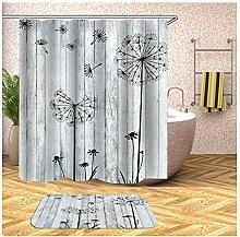 Anwaz Duschvorhang und Badteppich Set