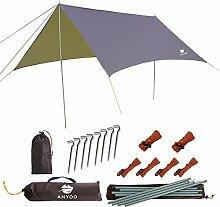 Anyoo Ripstop Regen Schutzdach Strand Zelt Hängematte Sonnenschutz 3×3 m Leichter Wasserdichter Schutz Für Camping Wandern Backpacken Stangen Befestigungen Inbegriffen