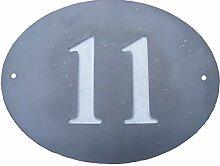 Anzahl 11Oval Natur Grau Slate Haus Tür Nummer