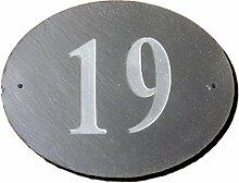 Anzahl 19oval natur grau Slate Haus Tür Nummer