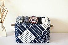 Anzirose Klein Aufbewahrungsbox Leinen Baumwolle Baby Bilden Aufbewahrungskorb mit Griffen -Japan Stil Muster