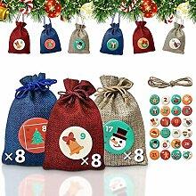 ANZOME 24 Adventskalender Tüten zum Befüllen,