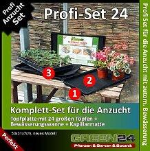 Anzucht-Set 24-PRO - automatische Bewässerung. 24er Topfplatte + Wasserwanne + Kapillarmatte