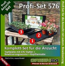 Anzucht-Set 576-PRO - Anzuchtplatte mit 576 Töpfen + Wanne + Kapillarmatte zur automatischen Bewässerung. Profi Set für die Massen-Vermehrung von Saatgut / Samen - Anzuchtschale / Anzuchtkasten