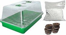 Anzucht-Set Minimalausstattung Einsteiger-Set Grow Set Zimmergewächshaus Perlite Quelltopf Keimung