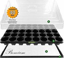 Anzuchthaus PROFI-40 Zimmer-Gewächshaus Hydroponik XL, automatische Bewässerung für die Anzucht - Profi Treibhaus mit Wanne + Kapillarsystem + QP Topfplatte + Haube