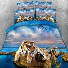 aoeiuv 3D Beach Tiger Queen Bettwäsche Set 3Pcs