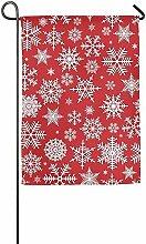 AOHOT Garten Flaggen,Christmas Pattern with White