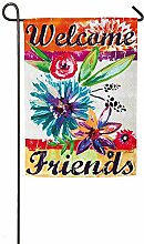 AOHOT Garten Flaggen,Floral Colorful Garden Flag