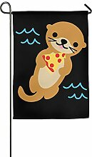 AOHOT Garten Flaggen,Funny Otter with Pizza