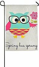 AOHOT Garten Flaggen,galaxy'ss Spring Time Owl