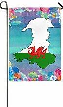 AOHOT Garten Flaggen,Garden Flag, Wales Flag Map