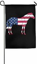 AOHOT Garten Flaggen,Patriotic Horse with The US