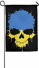 AOHOT Garten Flaggen,Ukraine Flag Skull Printed