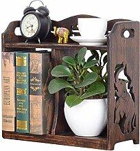 AOLI Bücherregal Massivholz-Tisch Regal Einfache