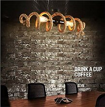 AOLI Vintage Pendelleuchte, Hanfseil Spirale Lampe