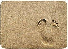 AoLismini Badematte Strand Fußabdruck in Sand