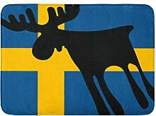 AoLismini Badematte Sverige Elch Elch die Flagge