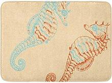 AoLismini Badematte Teal Beach Seepferdchen Orange
