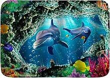 AoLismini Badematte Teppich, 3D Unterwasserwelt