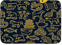 AoLismini Badematte Teppich, Chinese Lunar Zodiac