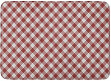 AoLismini Badvorleger Weiß Diagonal Rot Karo