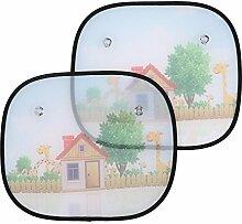 AOLVO 2Stück Auto Seite Fenster Sun Shades) Cartoon Style Auto Sonnenschutz Displayschutzfolie mit Saugnapf Auto-Dekoration D