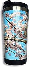 AOOEDM Cherry Blossoms Edelstahl Becher mit Deckel