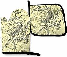 AOOEDM Dragon Tattoo Ofenhandtopfhalter Sets,