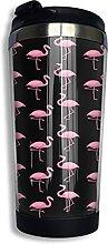 AOOEDM Pink Flamingo Edelstahl Becher mit Deckel