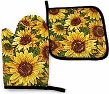 AOOEDM Vintage Sonnenblumen Ofen Mitt Topf