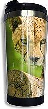 AOOEDM Wild Leopard Edelstahl Becher mit Deckel